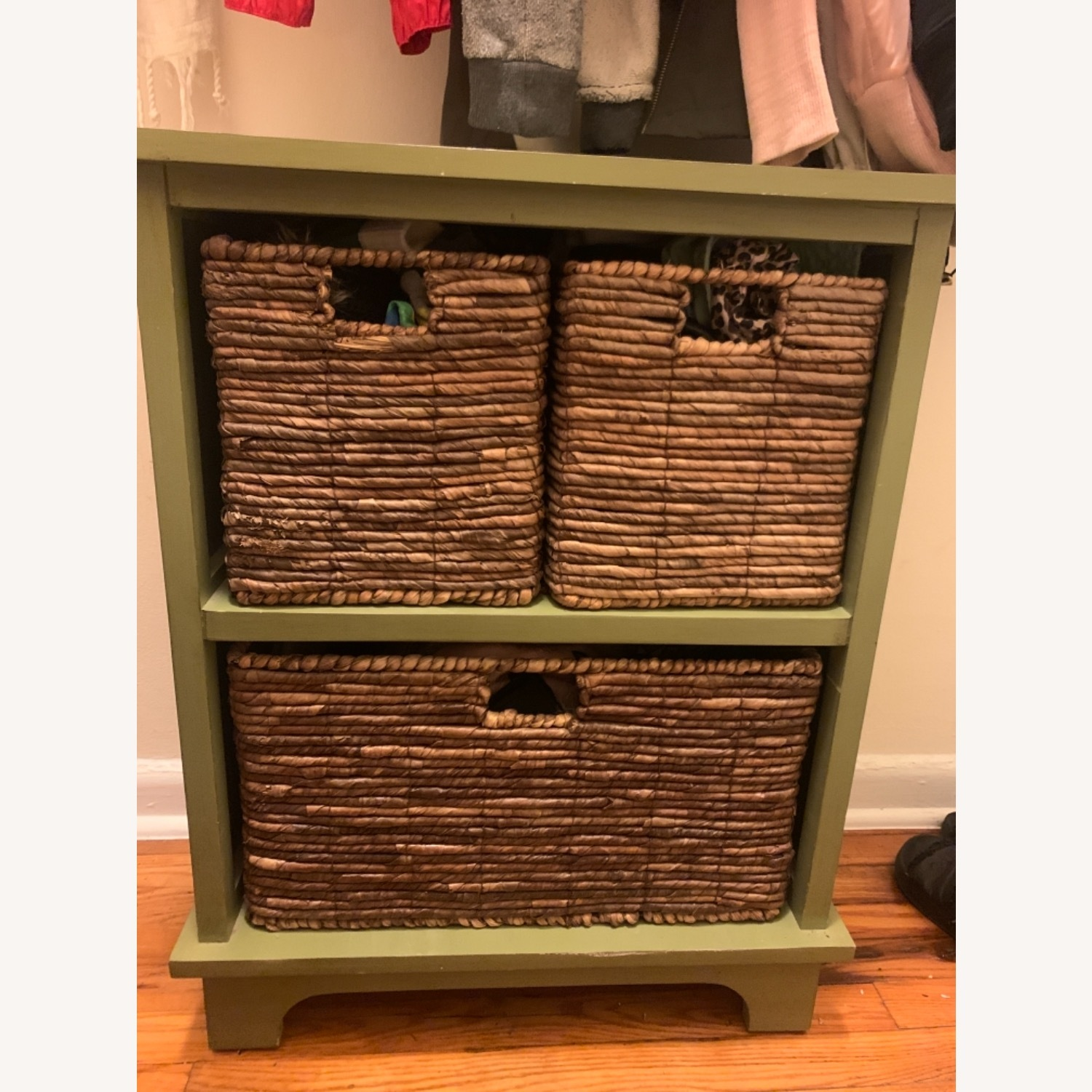 Small Green Wooden Storage Chest with 3 Baskets - image-3
