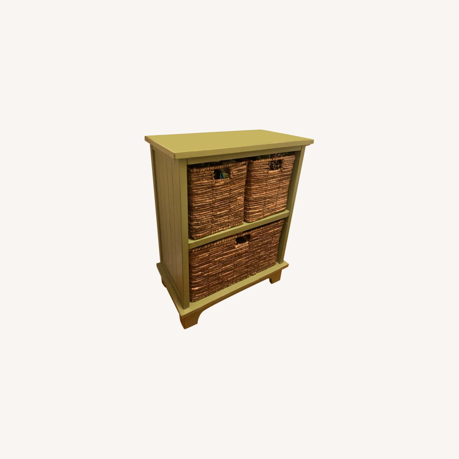 Small Green Wooden Storage Chest with 3 Baskets - image-0