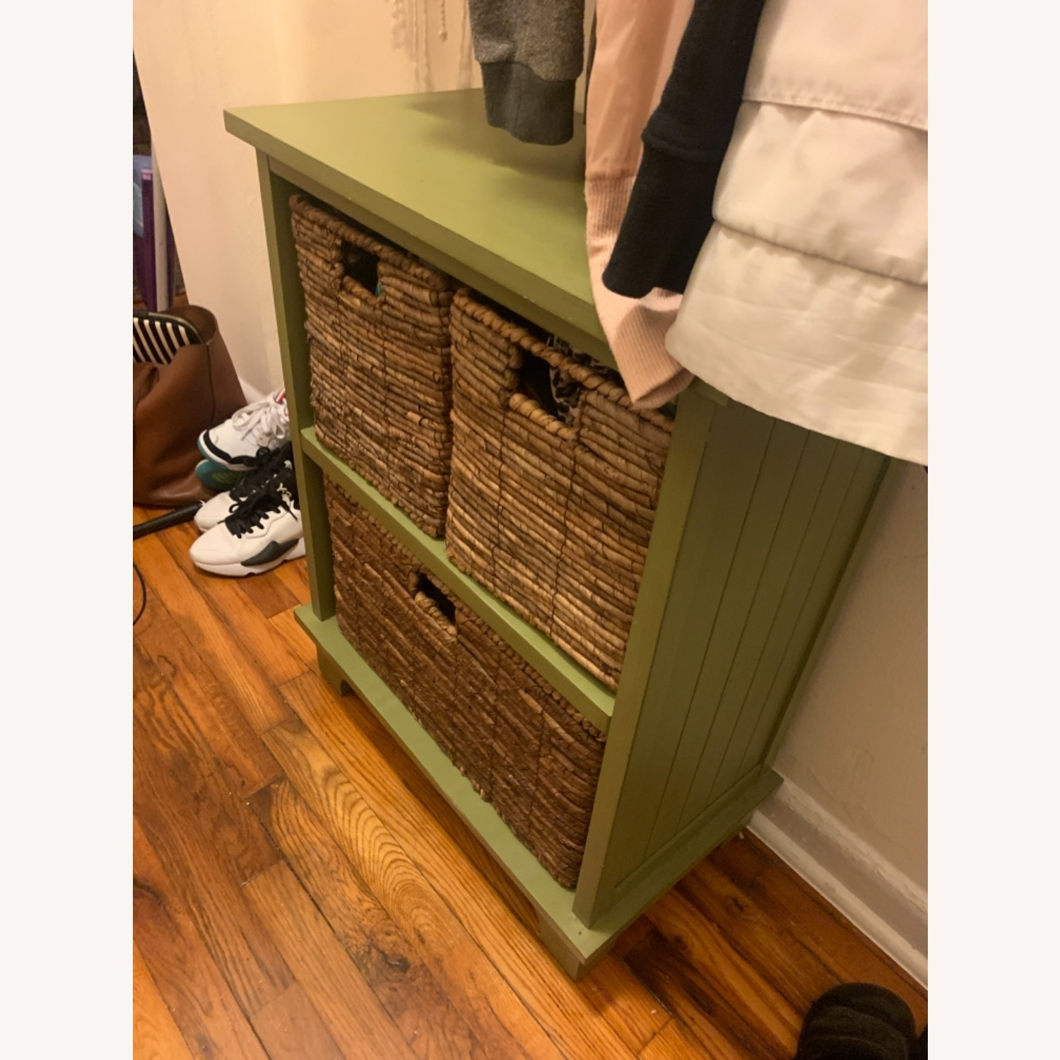 Small Green Wooden Storage Chest with 3 Baskets - image-5