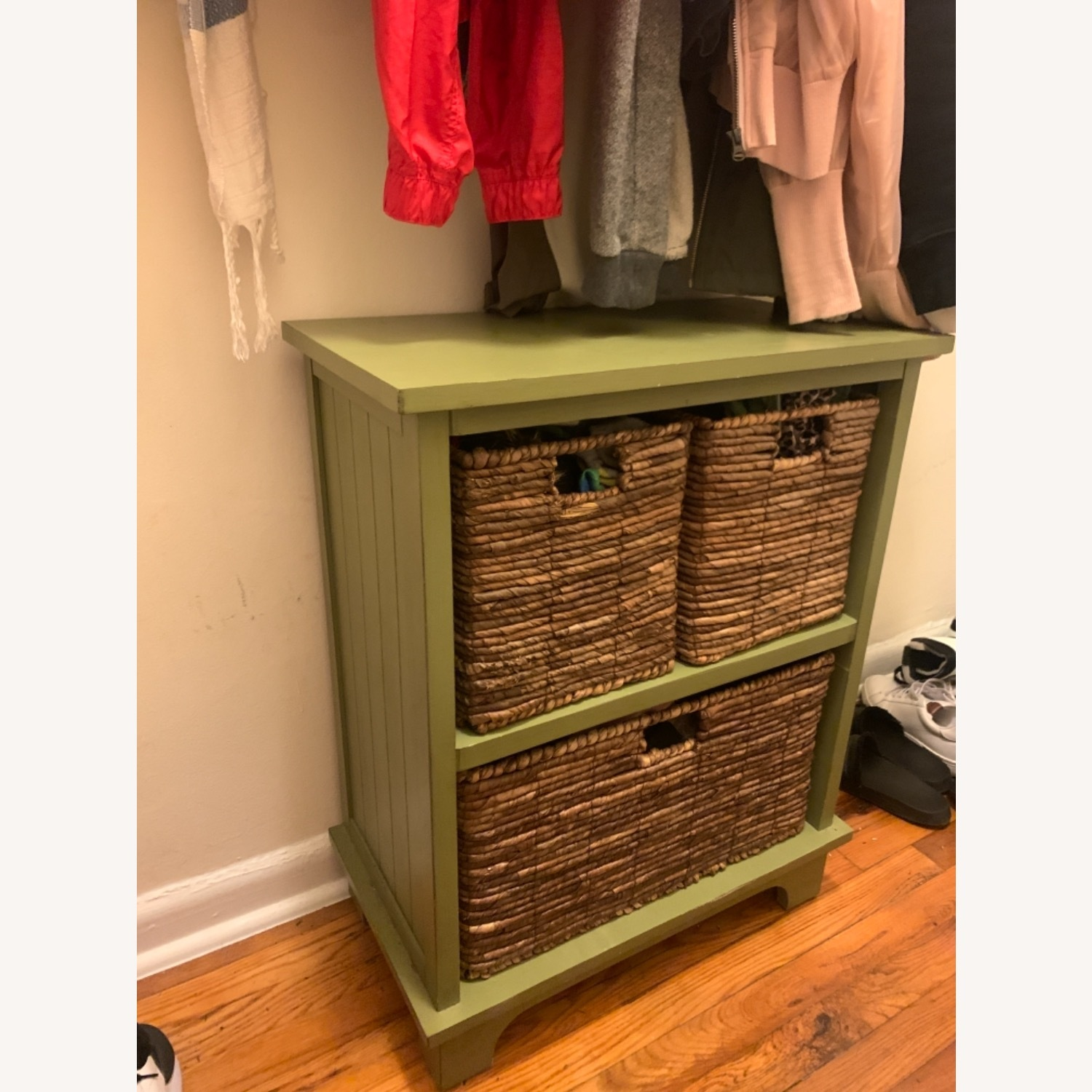 Small Green Wooden Storage Chest with 3 Baskets - image-1