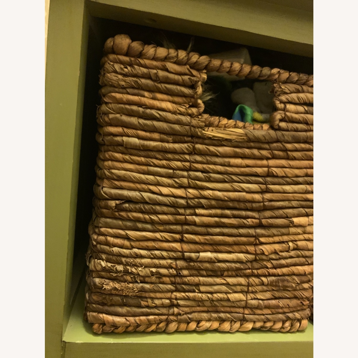 Small Green Wooden Storage Chest with 3 Baskets - image-4