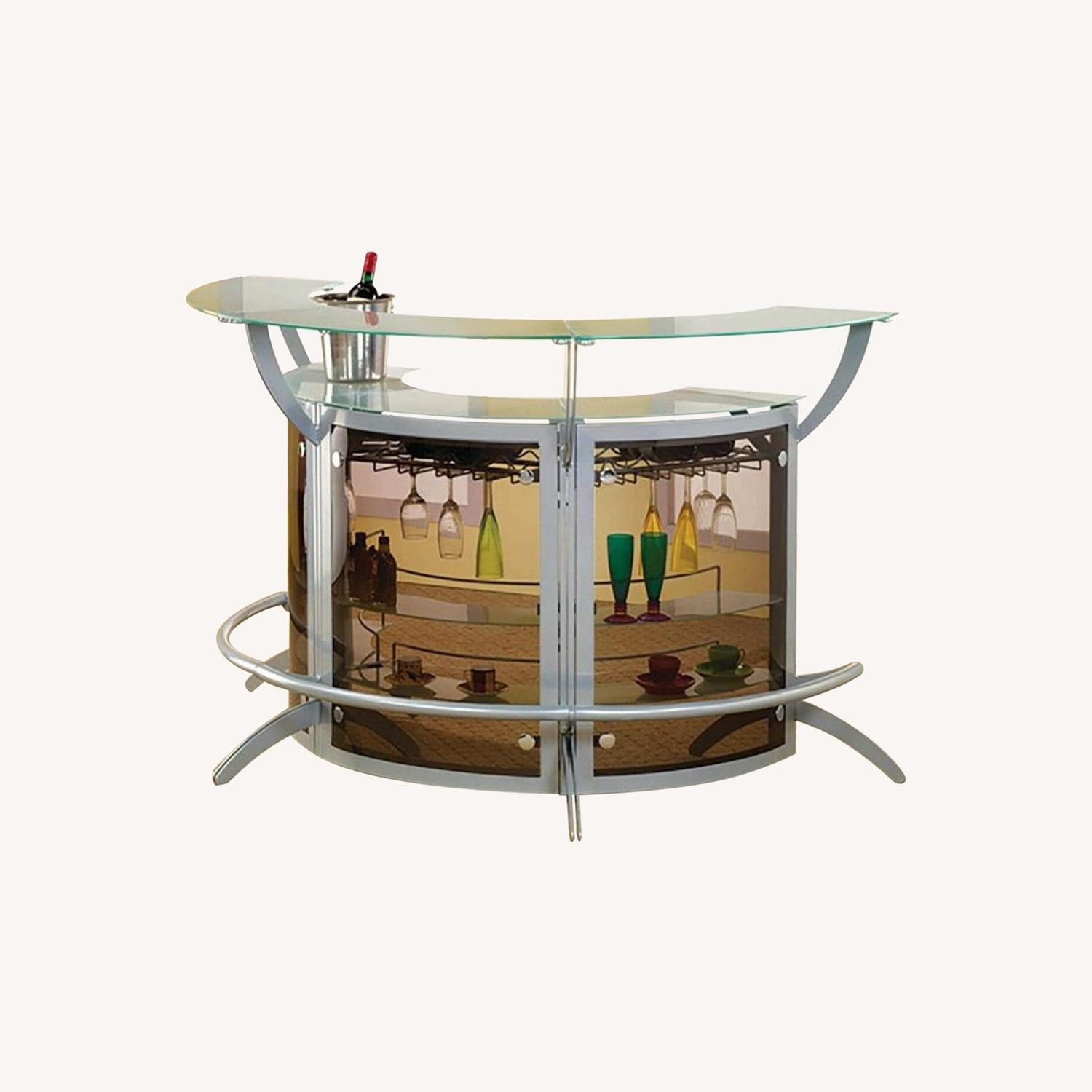 3-Piece Bar Unit Set In Smoked Acrylic & Silver - image-3
