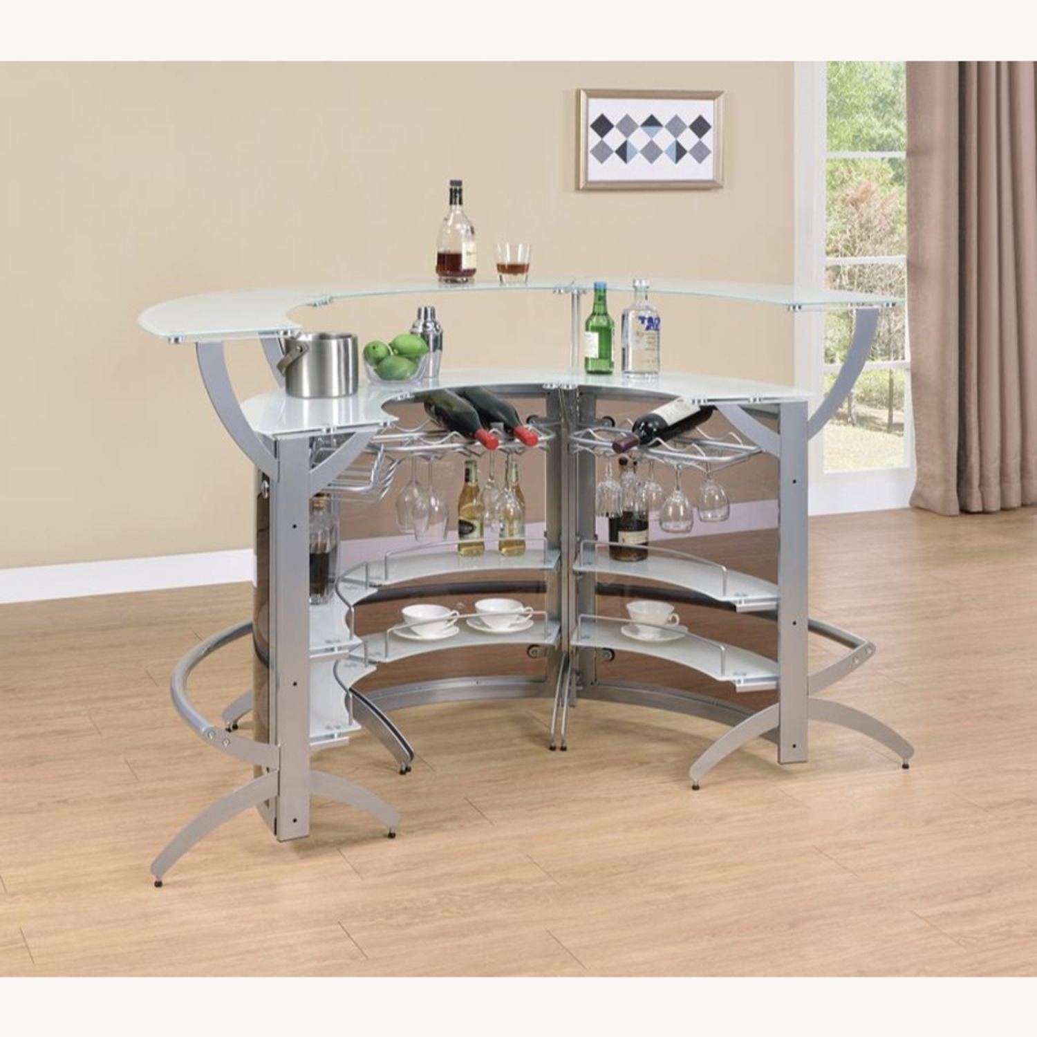 3-Piece Bar Unit Set In Smoked Acrylic & Silver - image-2