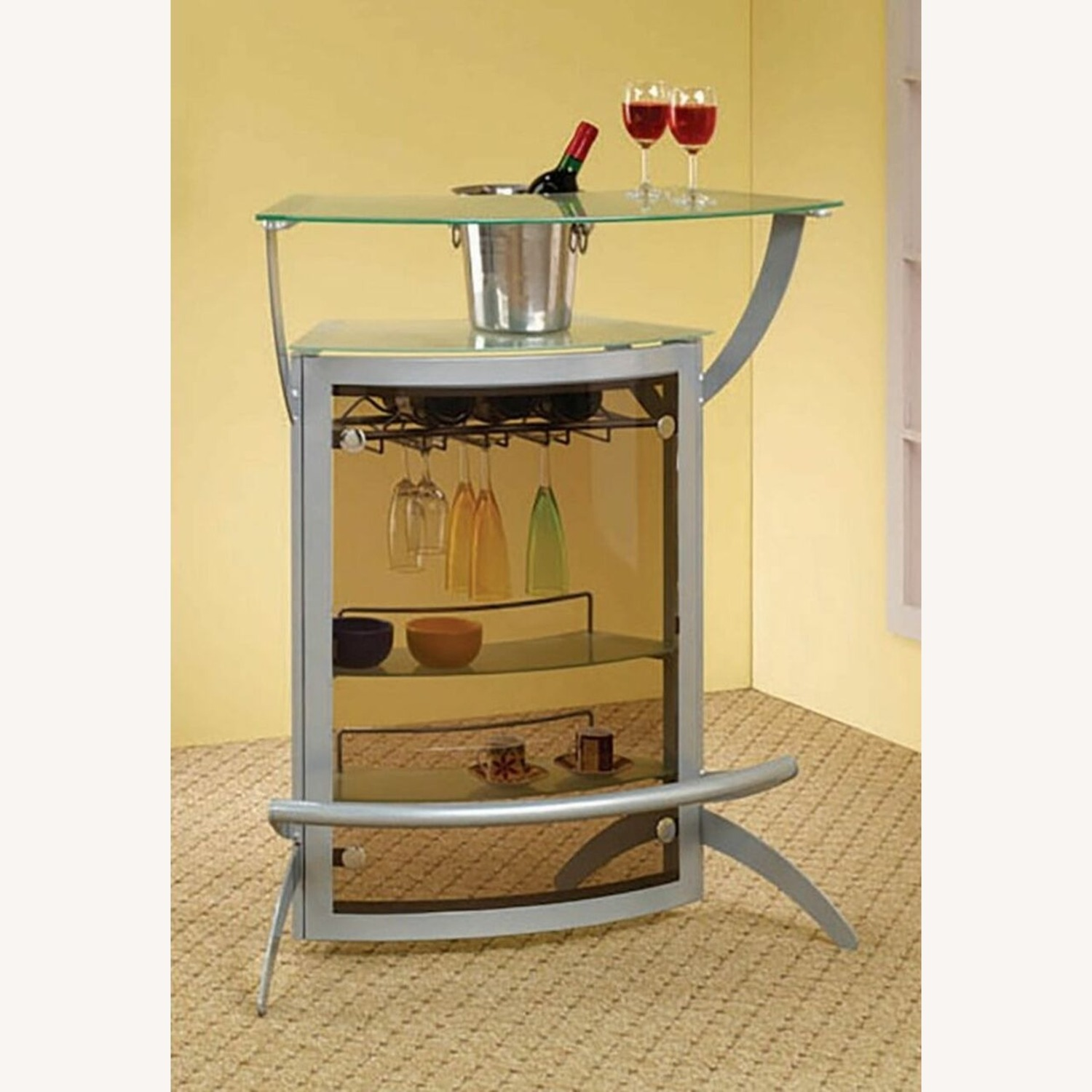 3-Piece Bar Unit Set In Smoked Acrylic & Silver - image-1