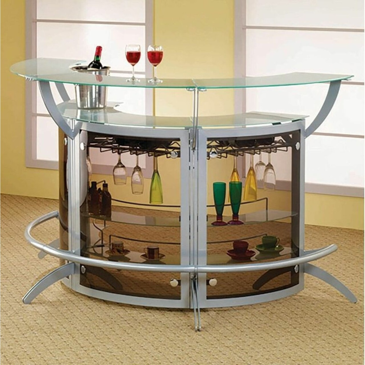 3-Piece Bar Unit Set In Smoked Acrylic & Silver - image-0