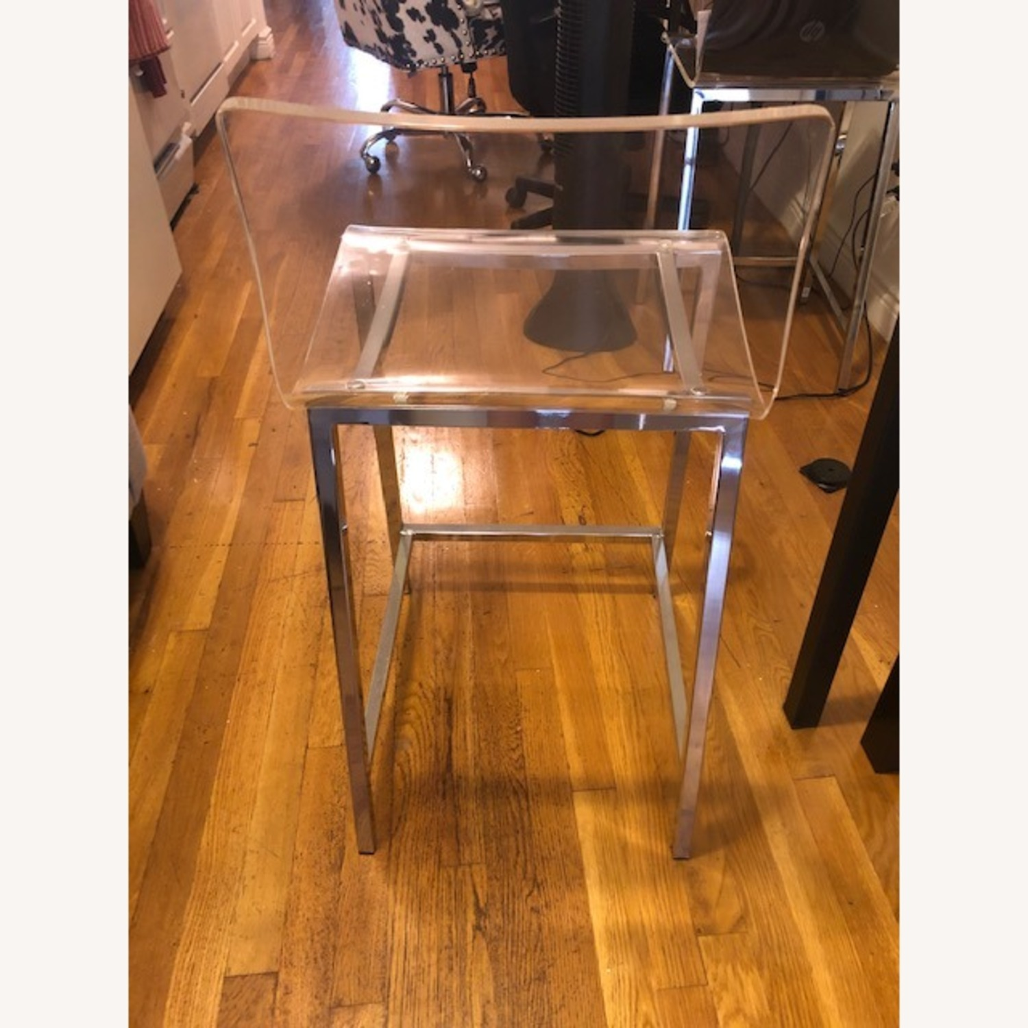 Clear Modern Bar Stool with Back and Chrome Legs - image-6