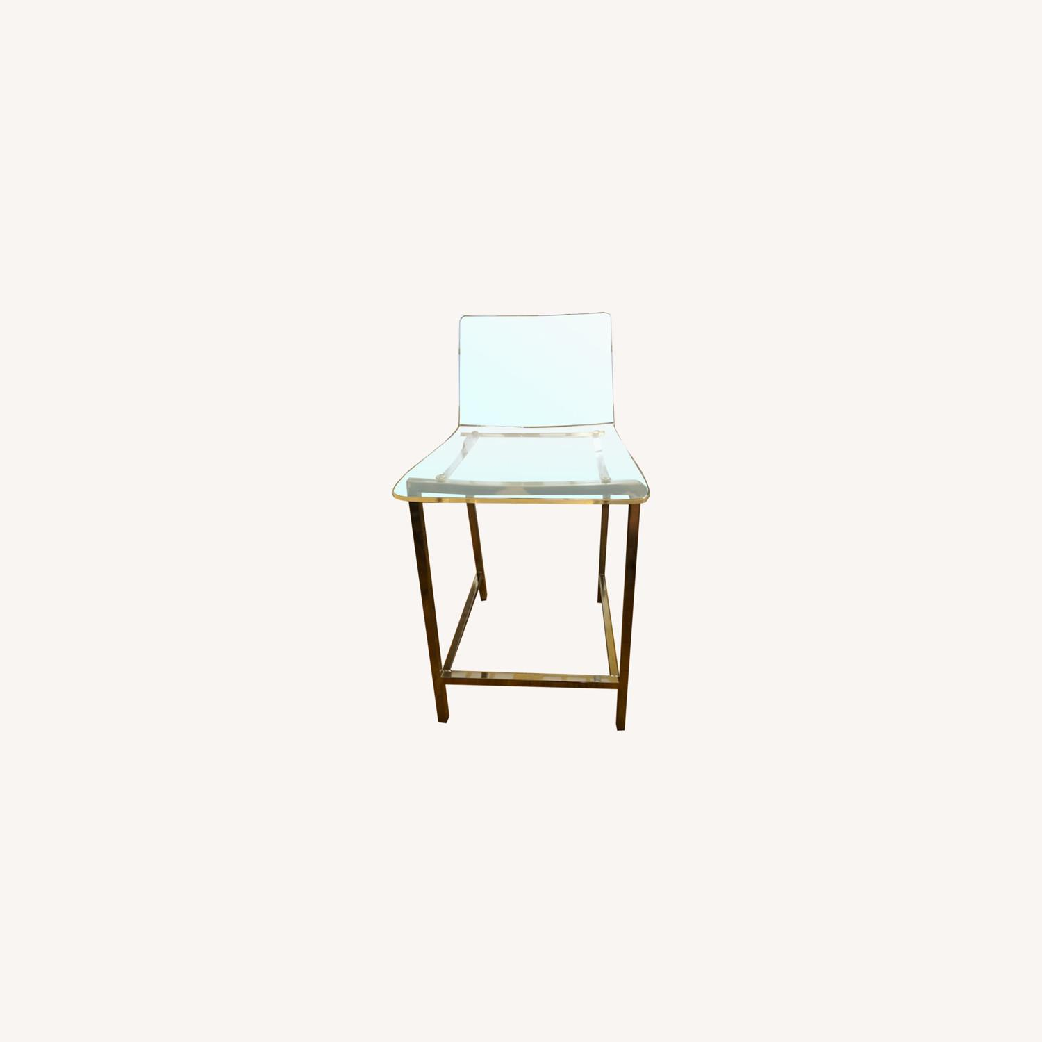 Clear Modern Bar Stool with Back and Chrome Legs - image-0