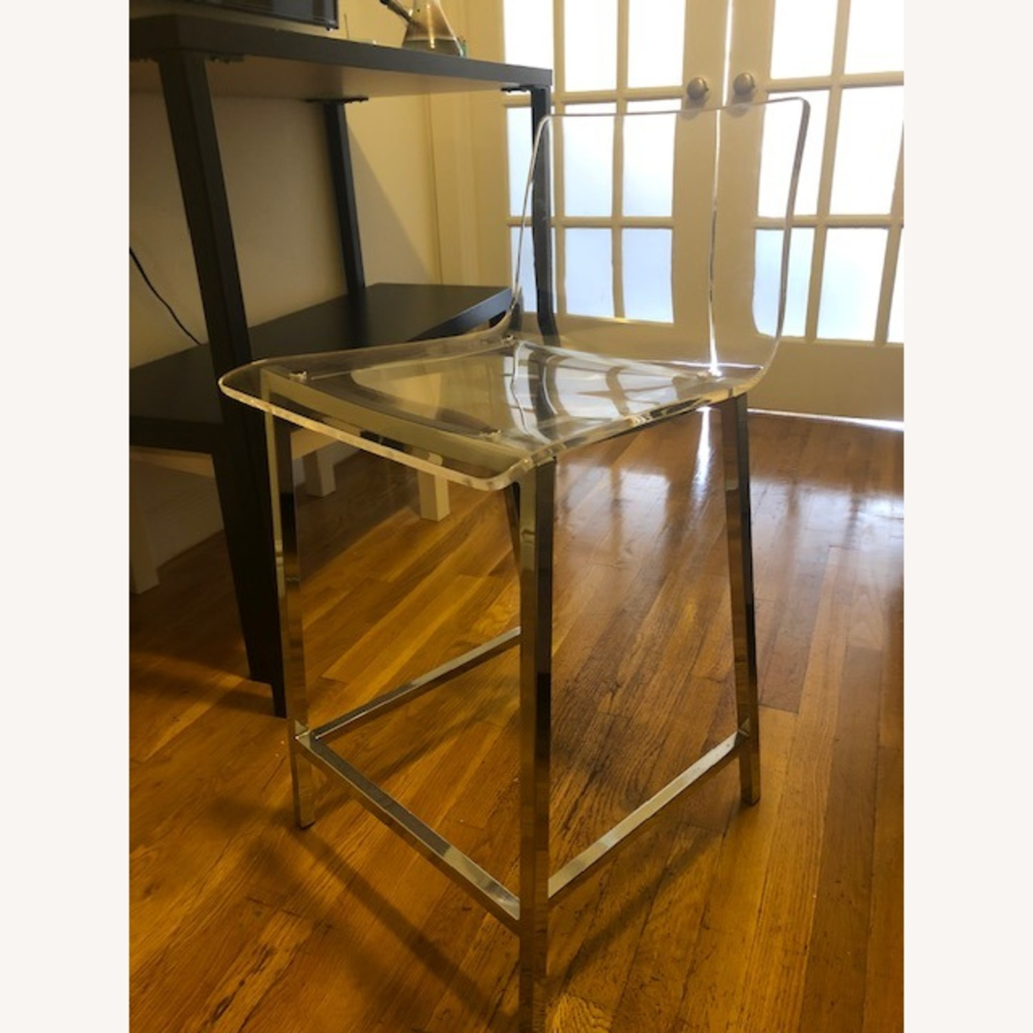 Clear Modern Bar Stool with Back and Chrome Legs - image-4