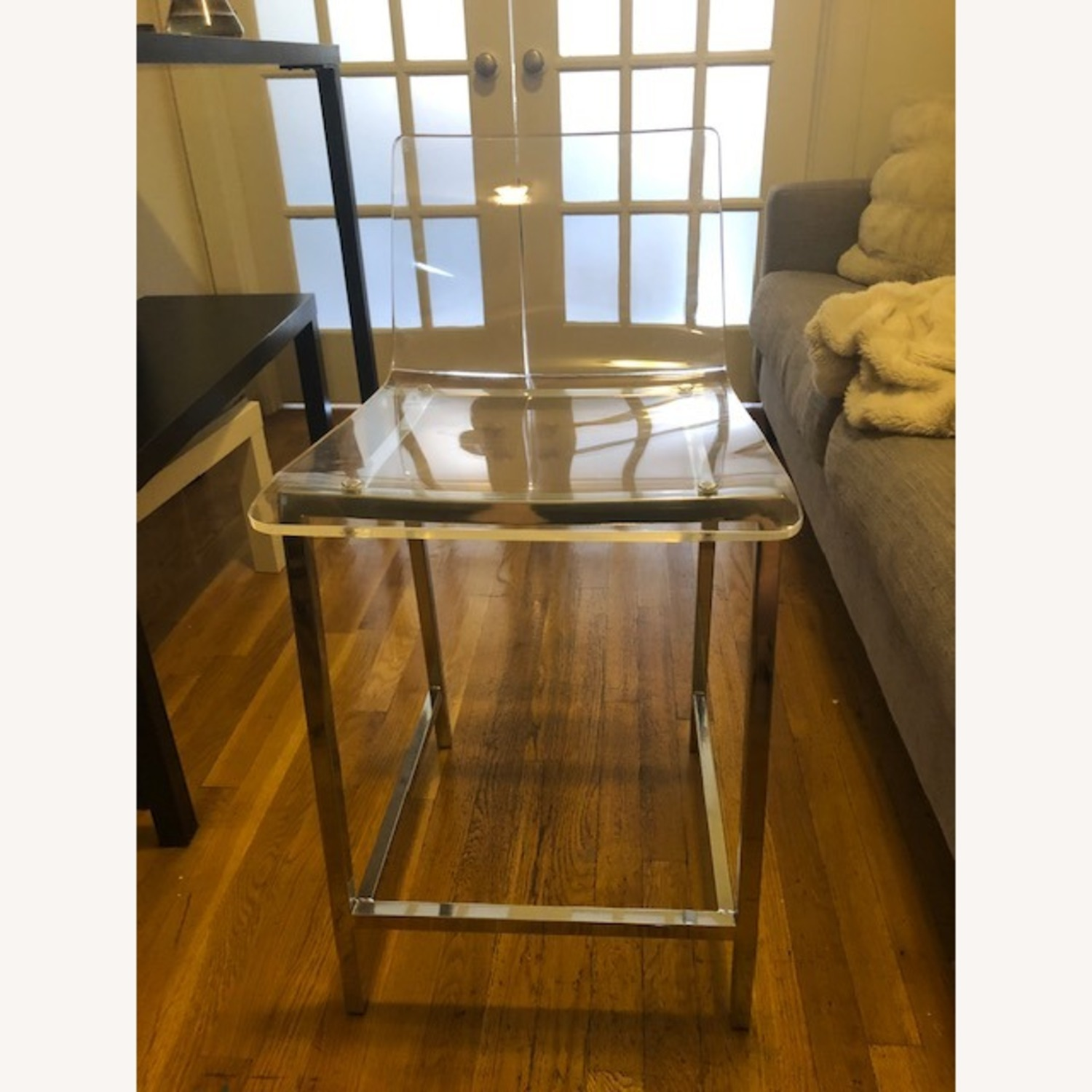 Clear Modern Bar Stool with Back and Chrome Legs - image-5