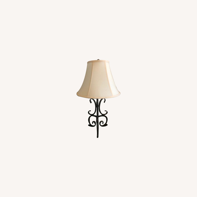 Black Iron Night Table Lamp with Cream Lampshade - image-0