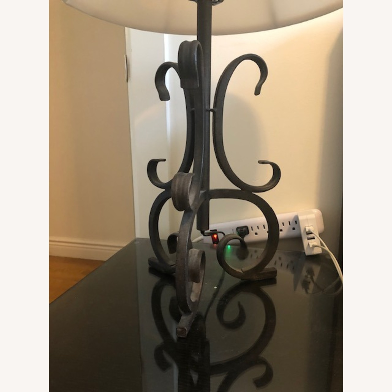 Black Iron Night Table Lamp with Cream Lampshade - image-1