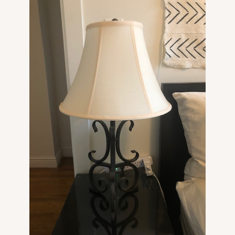 Black Iron Night Table Lamp with Cream Lampshade - image-5
