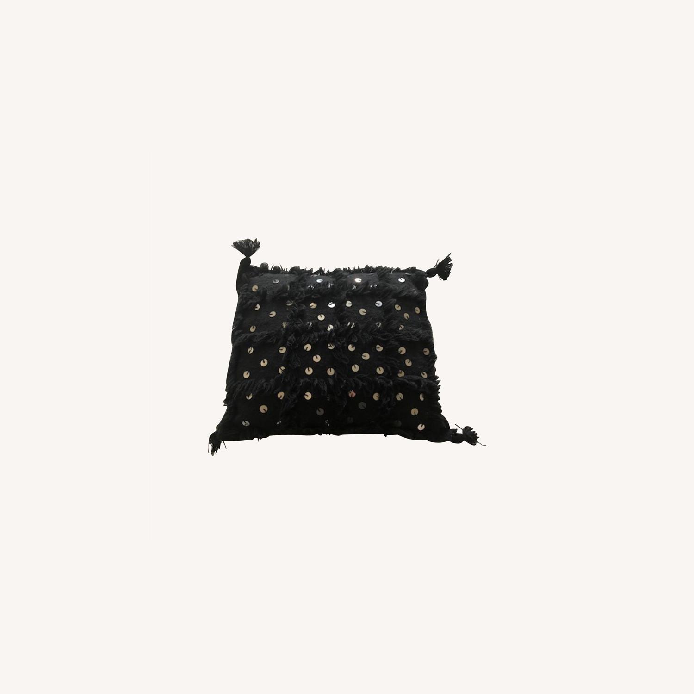 Authentic Black Moroccan Decor Pillow - image-0