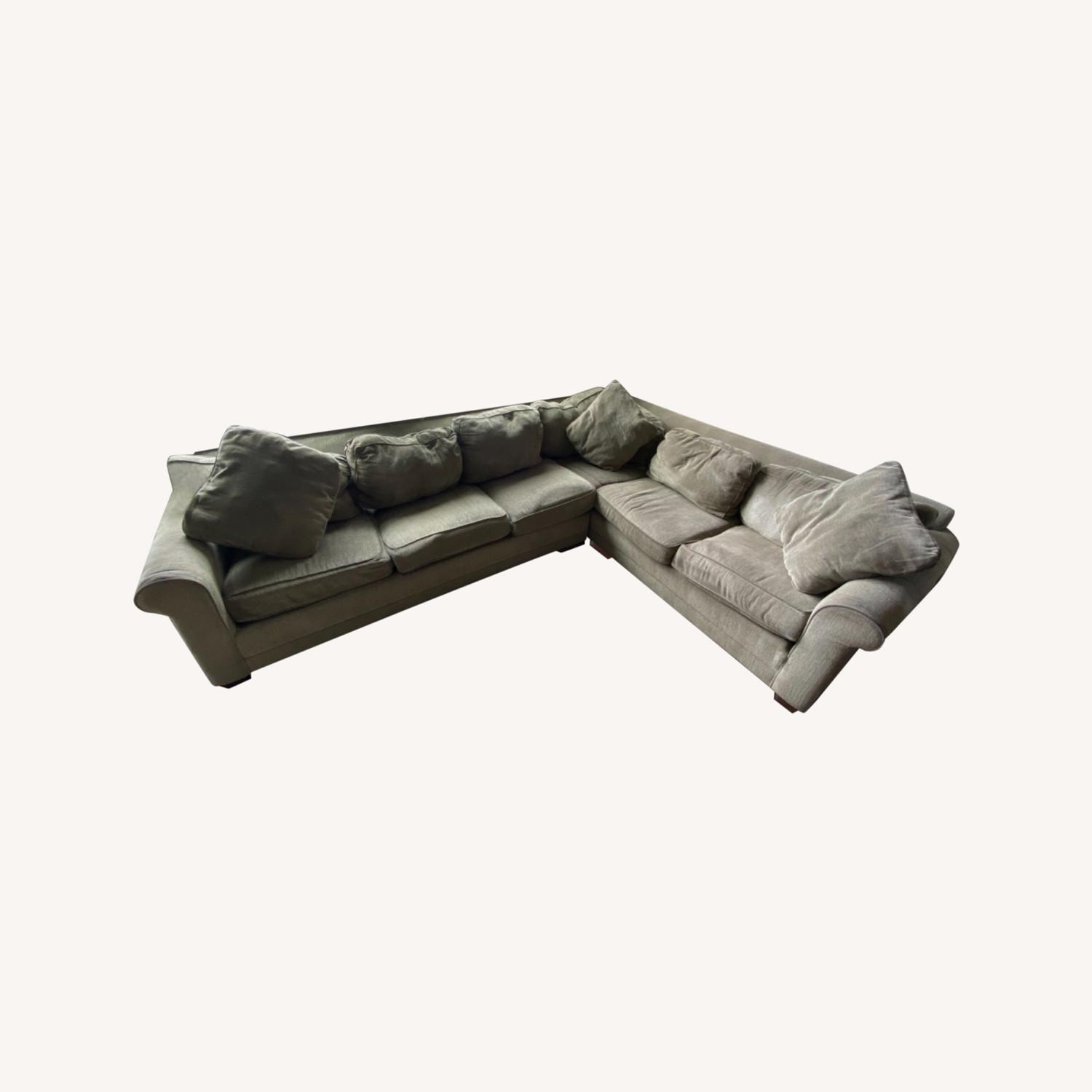 Olive Green 2 Piece Sectional Sleeper Sofa - image-0