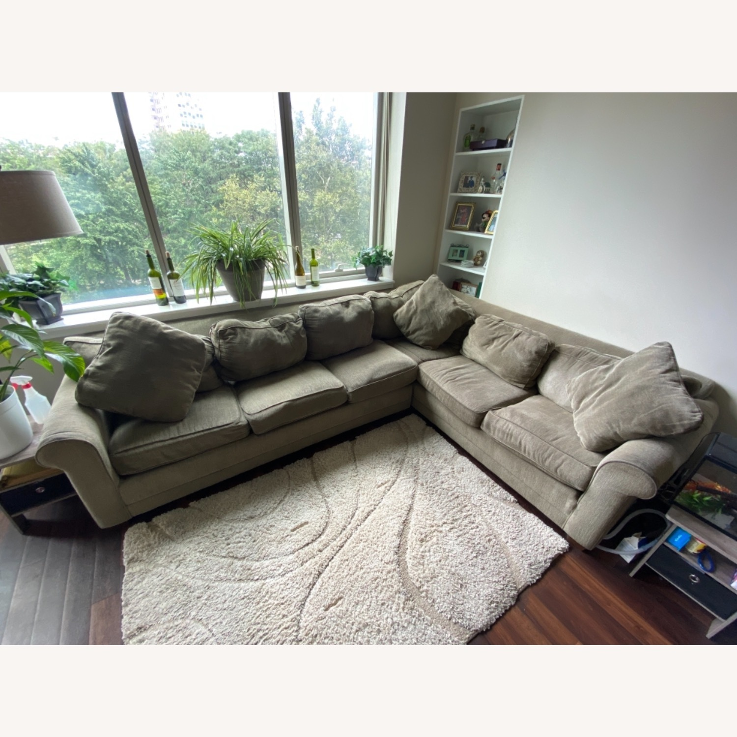 Olive Green 2 Piece Sectional Sleeper Sofa - image-1