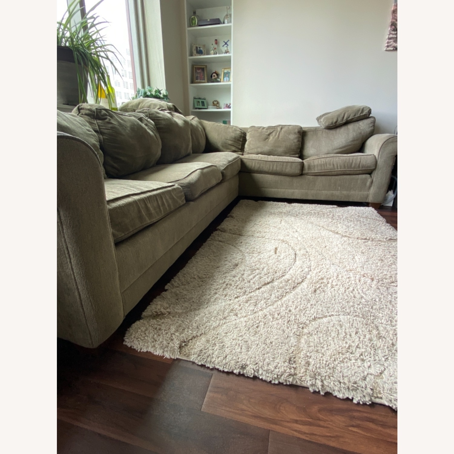 Olive Green 2 Piece Sectional Sleeper Sofa - image-2