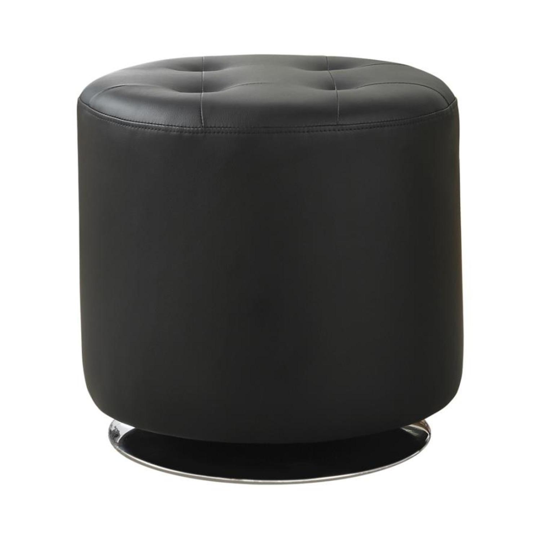 Ottoman In Black Leatherette W/ Chrome Base Finish - image-0