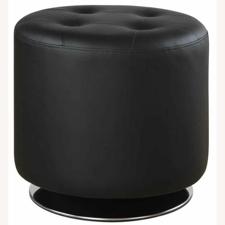 Ottoman In Black Leatherette W/ Chrome Base Finish - image-1