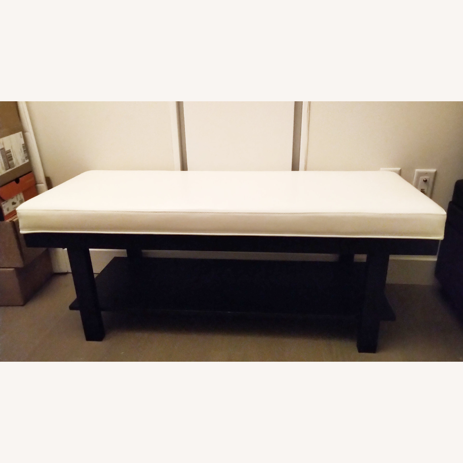 Wayfair Espresso Wood and White Faux Leather Bench - image-1