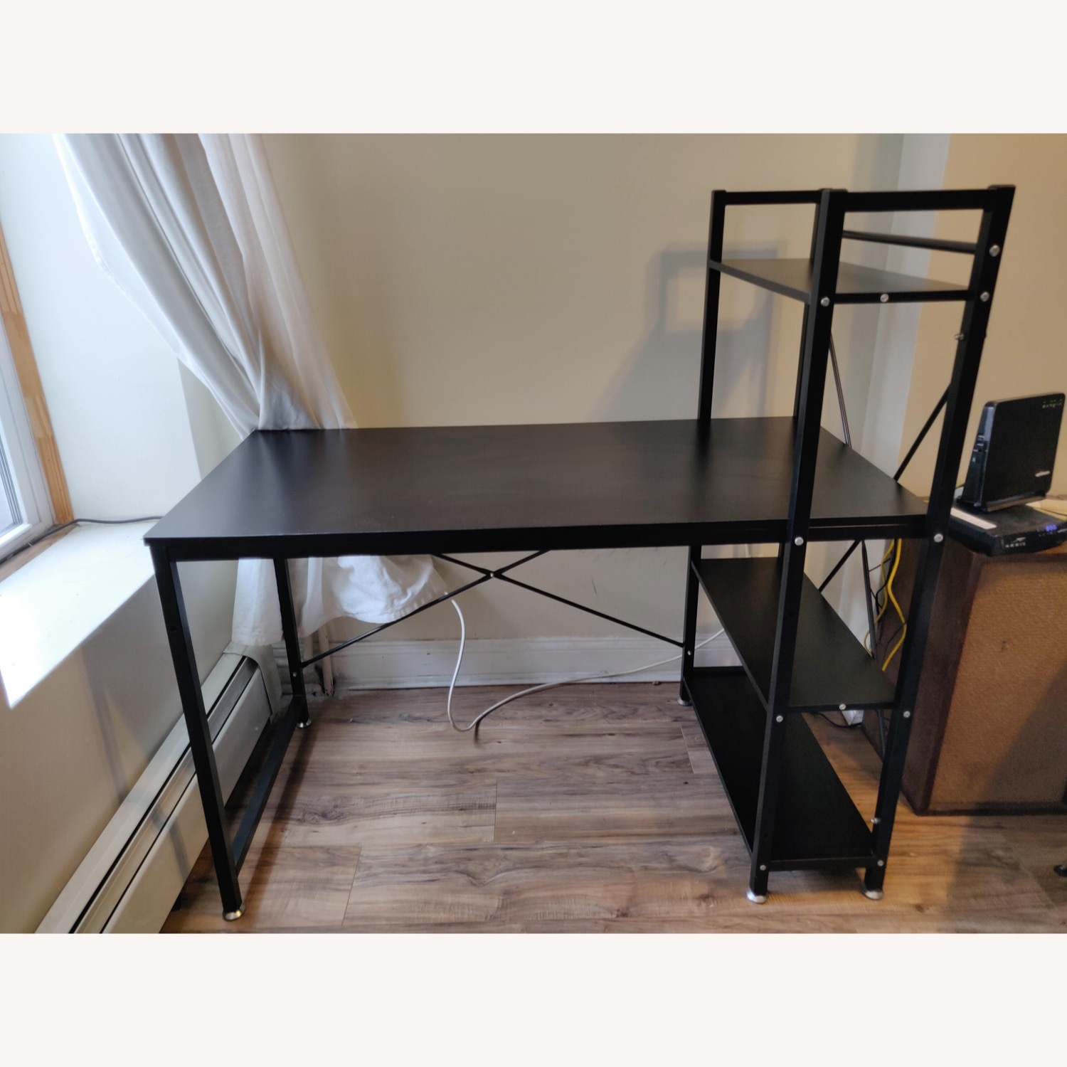 Industrial-style Desk with Shelves - image-1