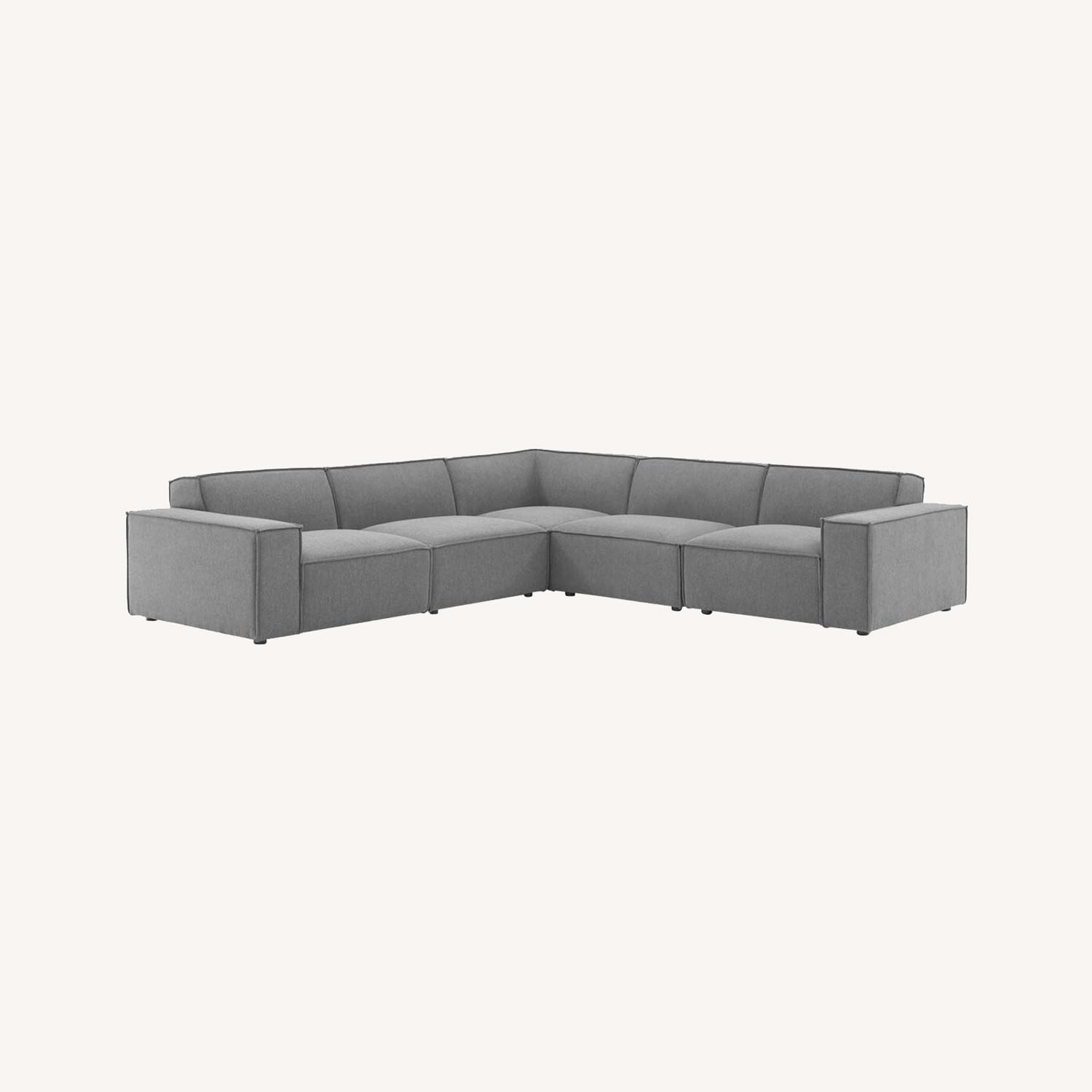 5-Piece Sectional Sofa In CharcoalW/ Piping Detail - image-11