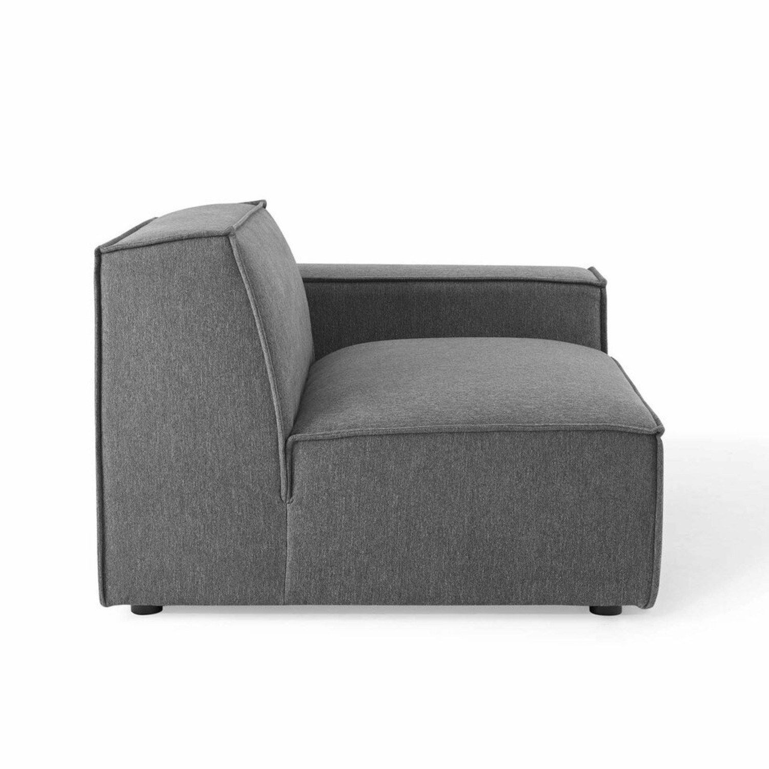 5-Piece Sectional Sofa In CharcoalW/ Piping Detail - image-3