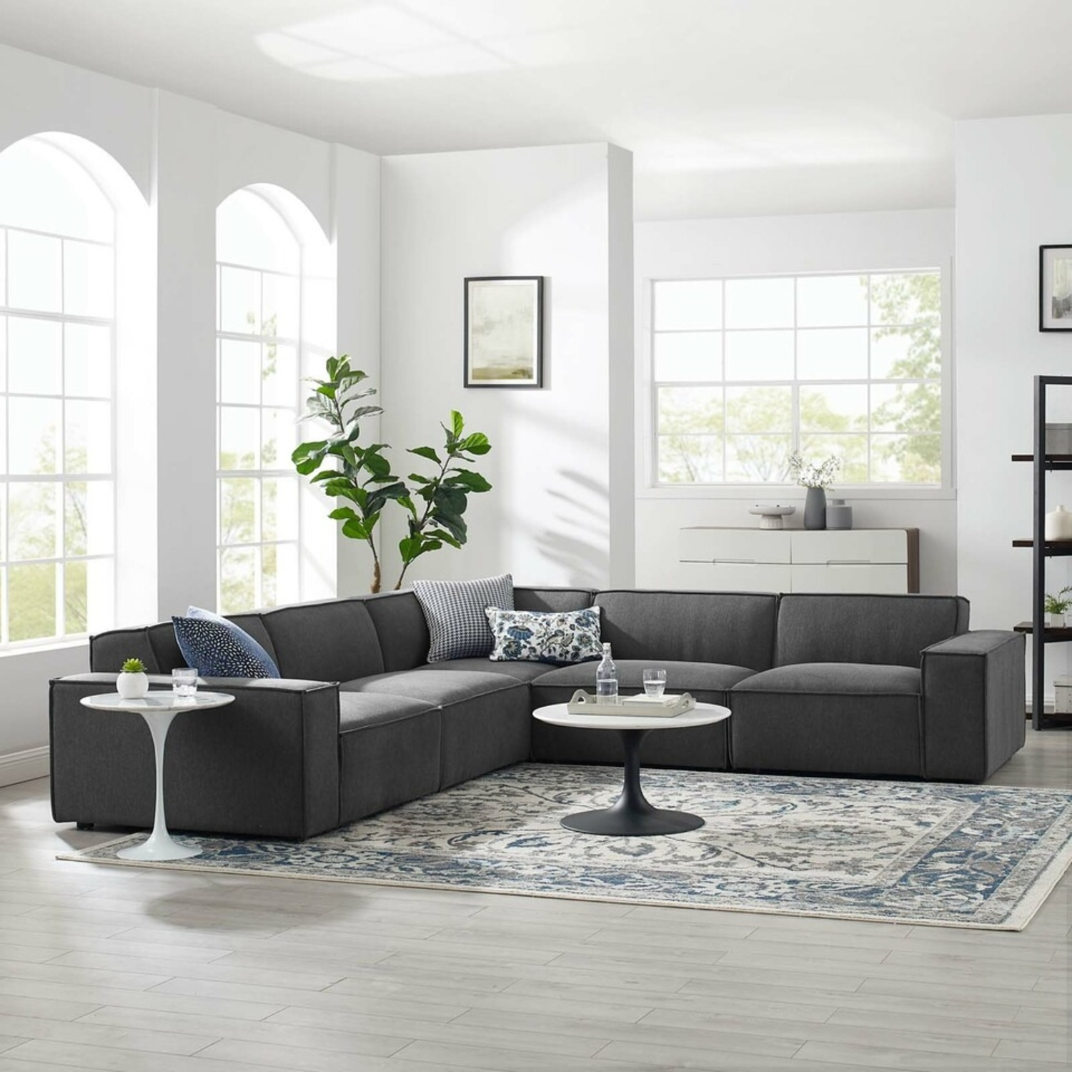 5-Piece Sectional Sofa In CharcoalW/ Piping Detail - image-10