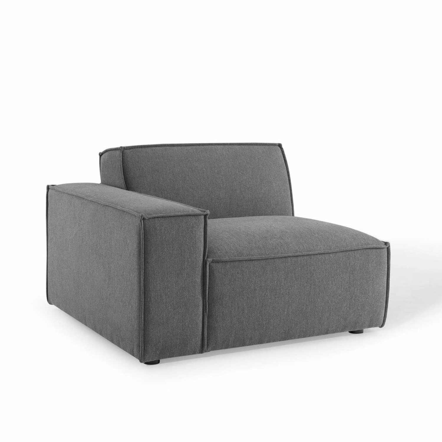 5-Piece Sectional Sofa In CharcoalW/ Piping Detail - image-4
