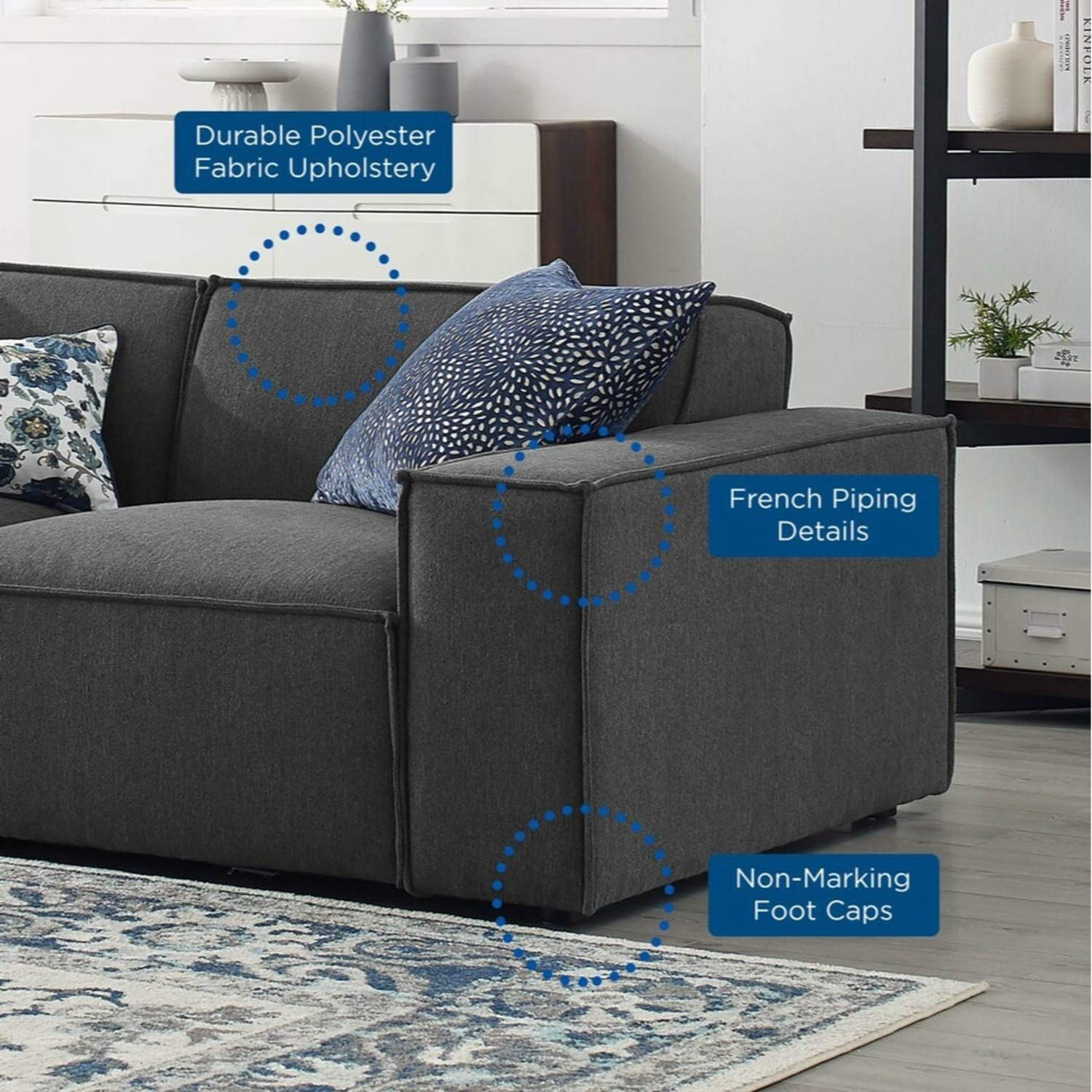 5-Piece Sectional Sofa In CharcoalW/ Piping Detail - image-9