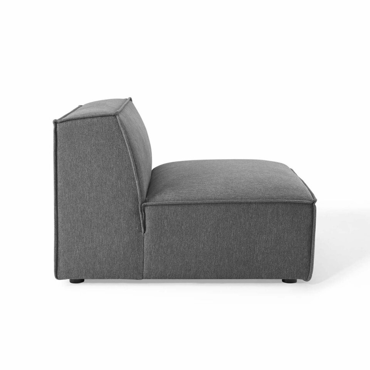 5-Piece Sectional Sofa In CharcoalW/ Piping Detail - image-8