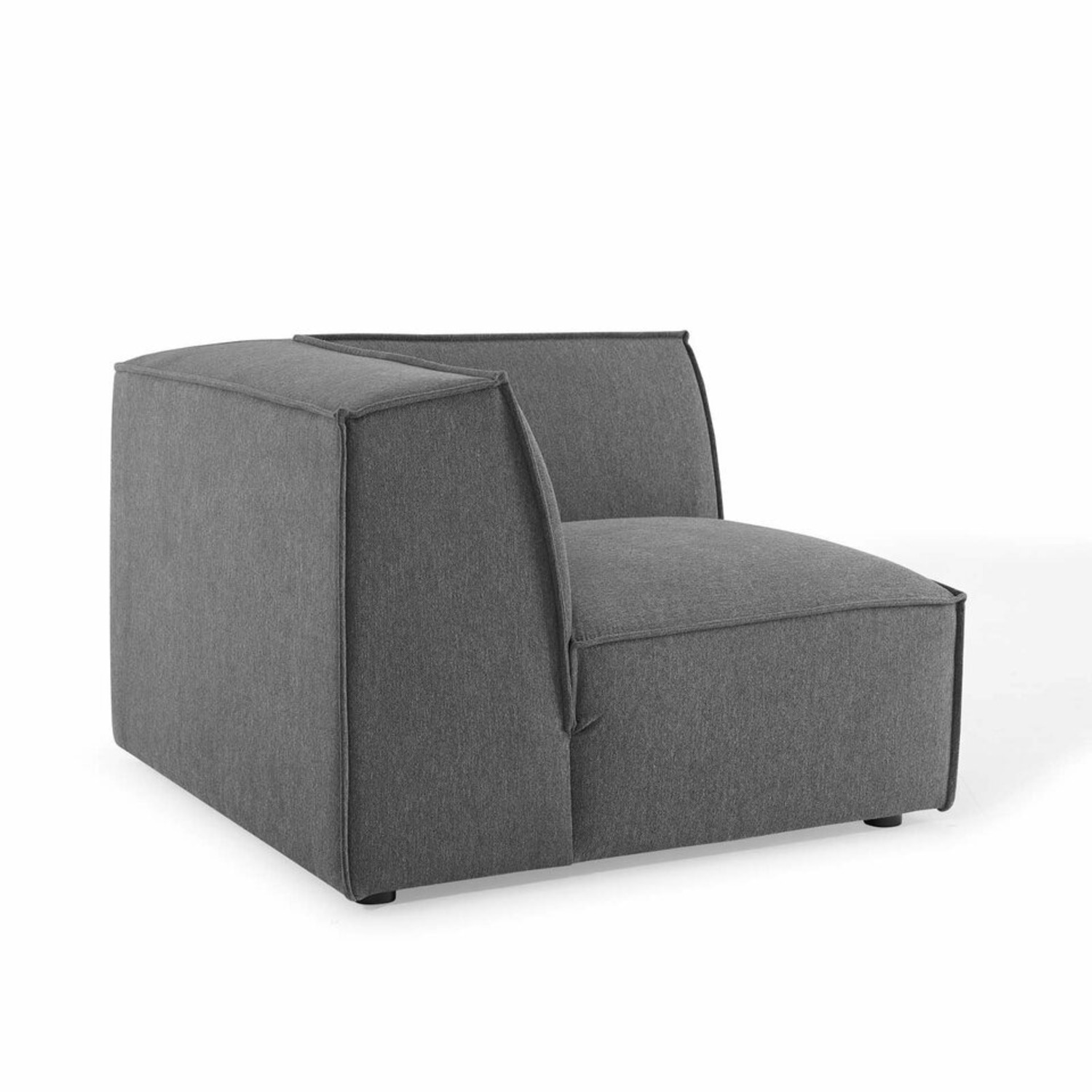 5-Piece Sectional Sofa In CharcoalW/ Piping Detail - image-6