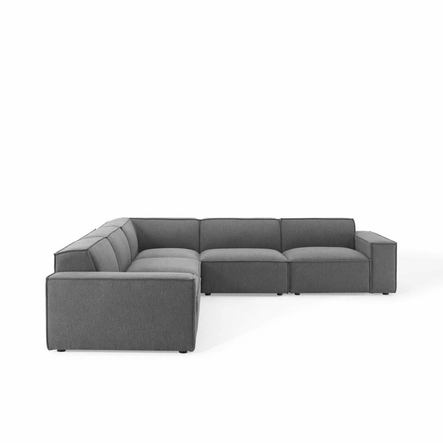 5-Piece Sectional Sofa In CharcoalW/ Piping Detail - image-0