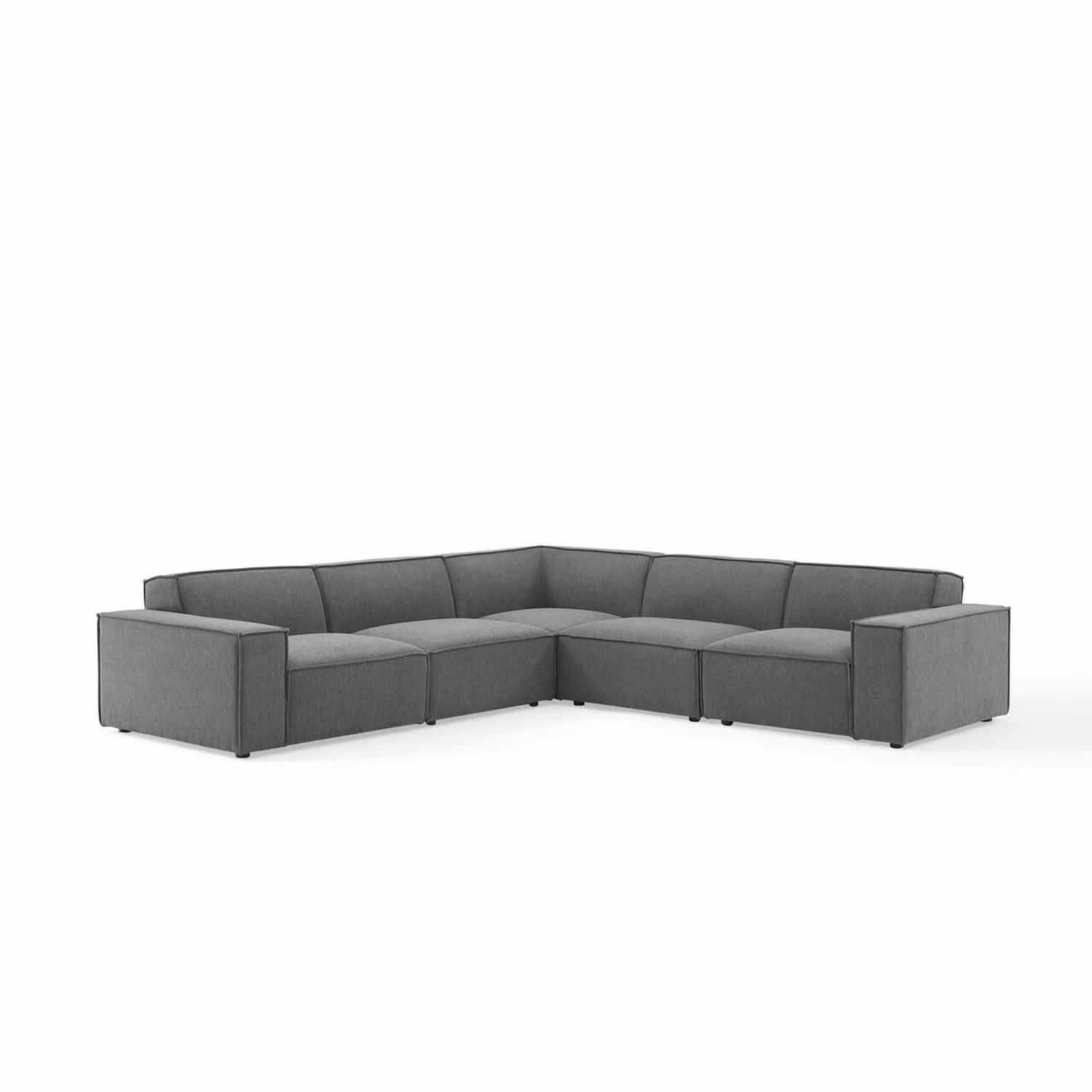 5-Piece Sectional Sofa In CharcoalW/ Piping Detail - image-1