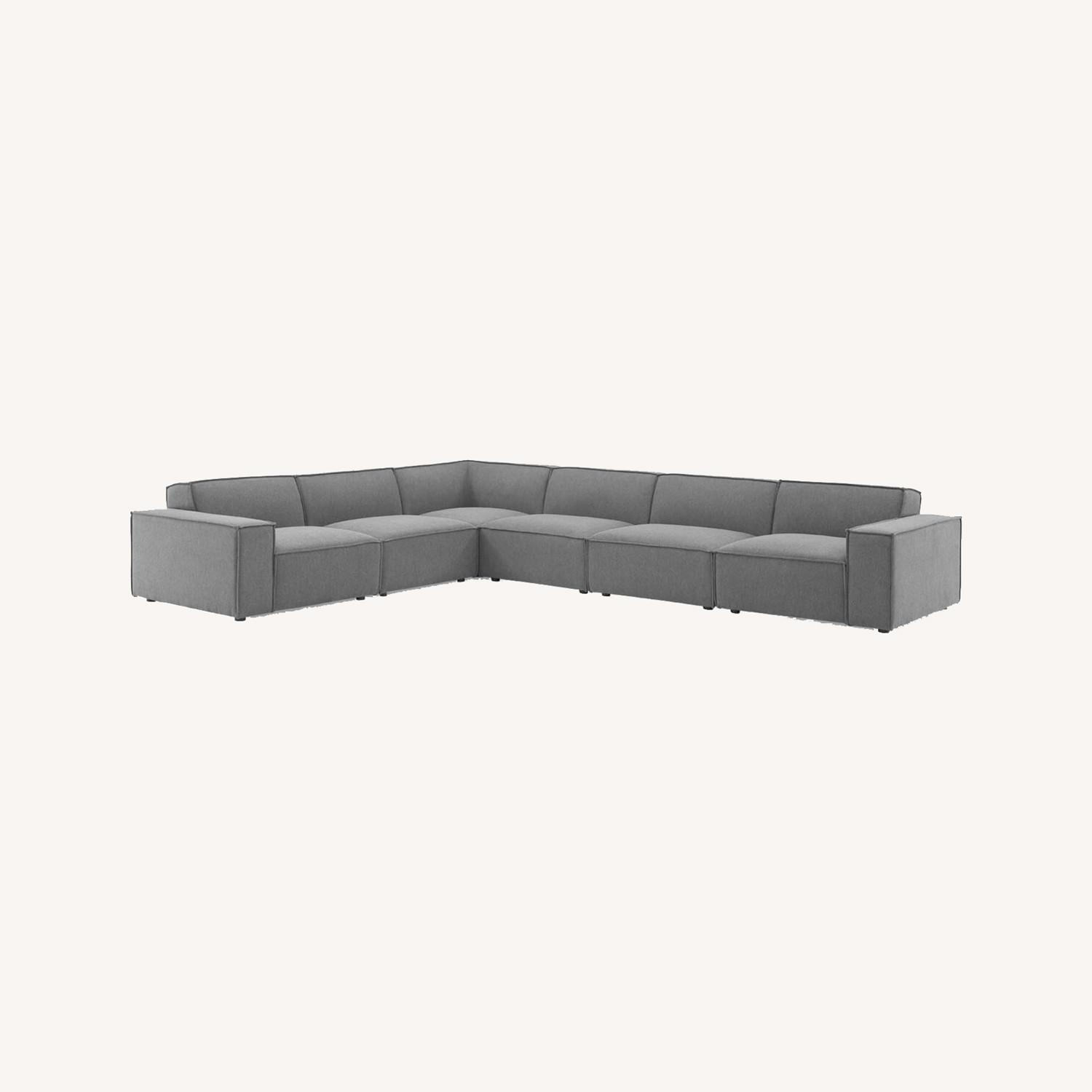 6Piece Sectional Sofa In Charcoal Polyester Fabric - image-11