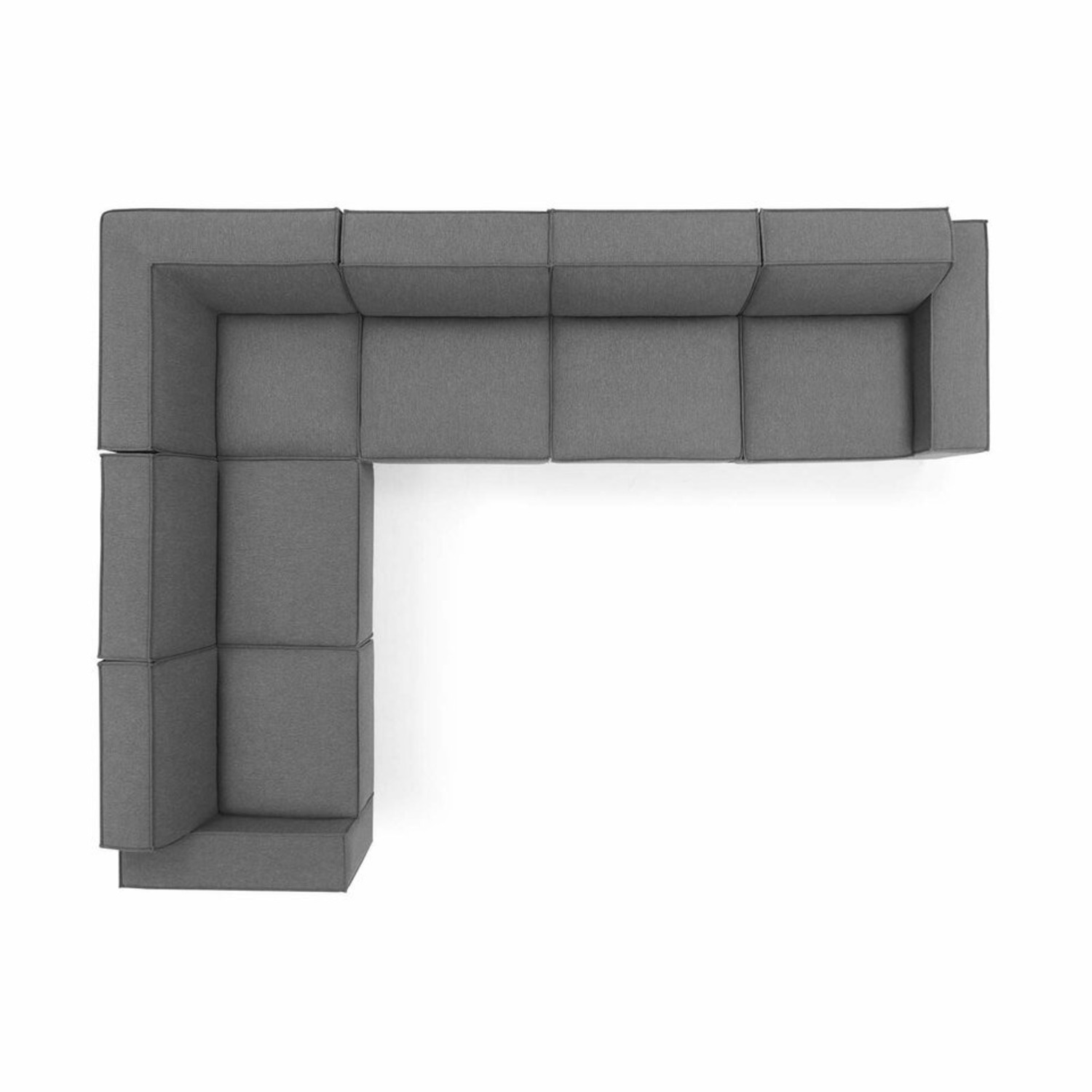 6Piece Sectional Sofa In Charcoal Polyester Fabric - image-1