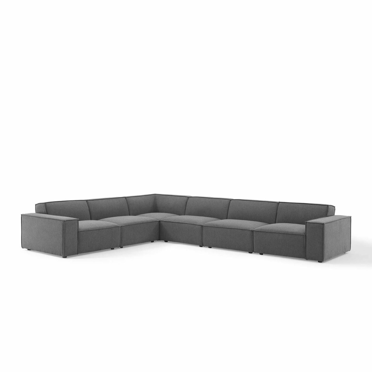 6Piece Sectional Sofa In Charcoal Polyester Fabric - image-0