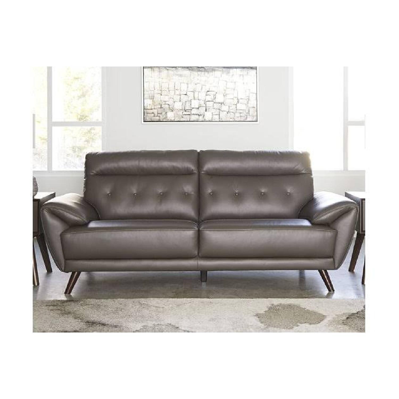 Ashley Furniture Sissoko Leather Gray Sofa - image-8