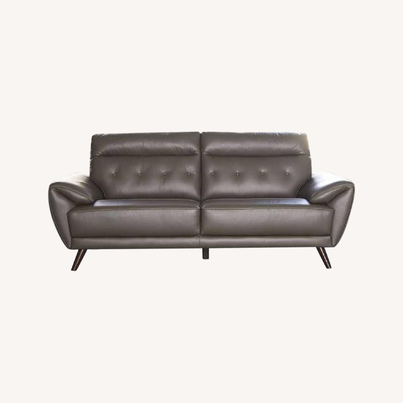 Ashley Furniture Sissoko Leather Gray Sofa - image-0
