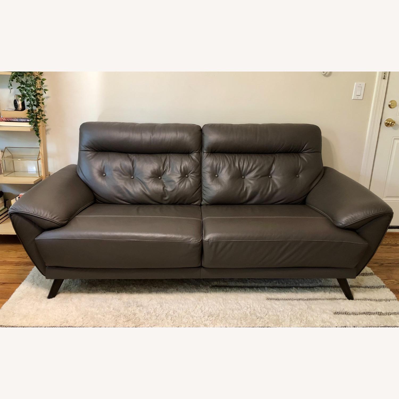 Ashley Furniture Sissoko Leather Gray Sofa - image-1