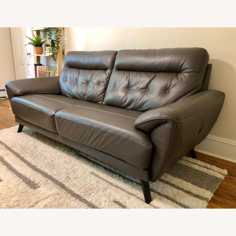 Ashley Furniture Sissoko Leather Gray Sofa - image-3