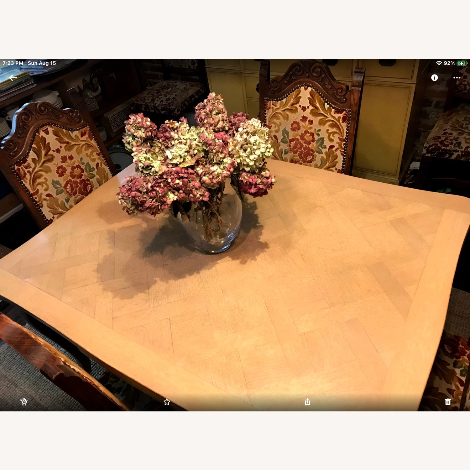 French Drawleaf Parquet Dining Table - image-1