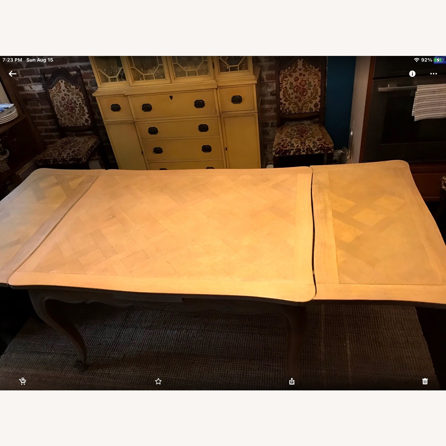 French Drawleaf Parquet Dining Table - image-2