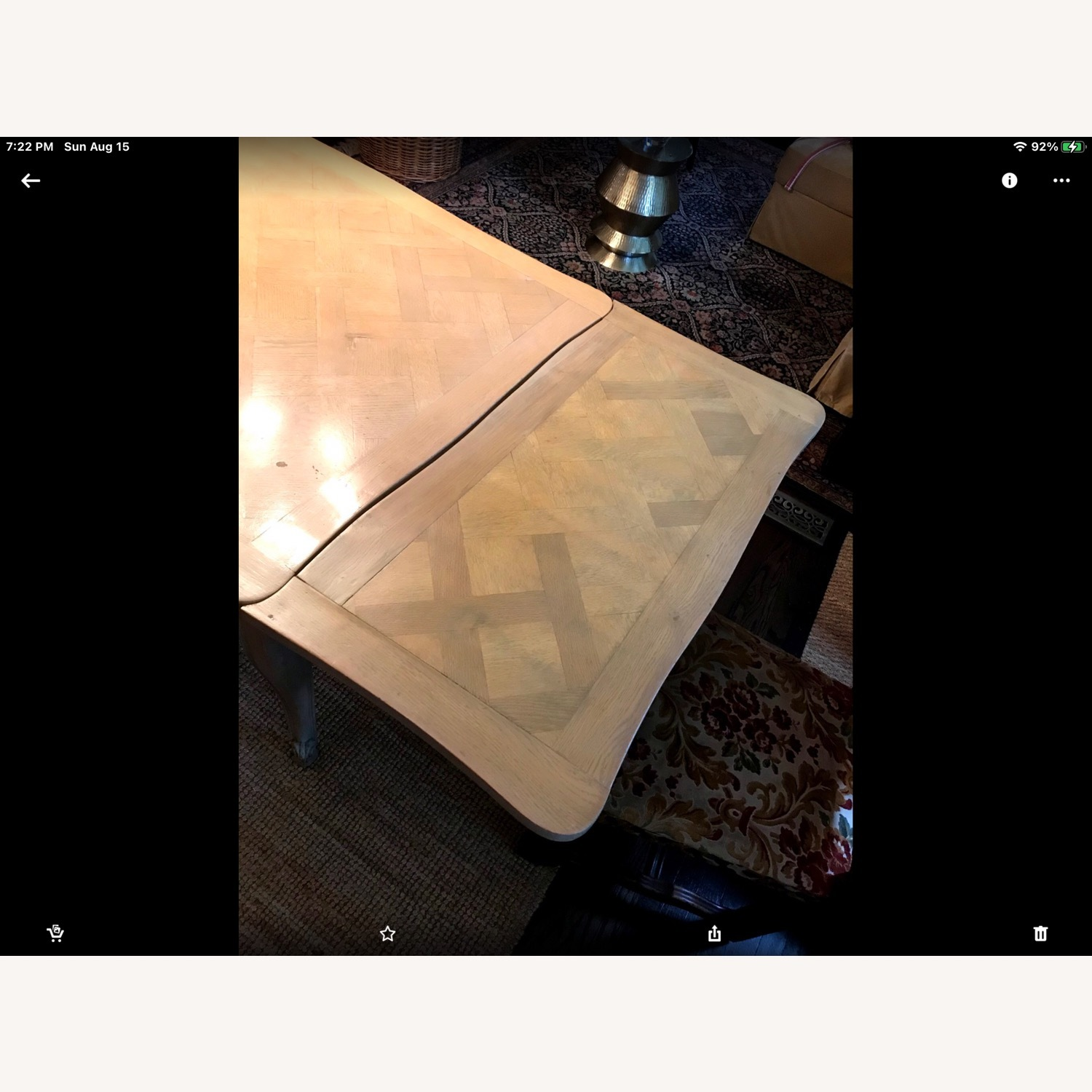 French Drawleaf Parquet Dining Table - image-8