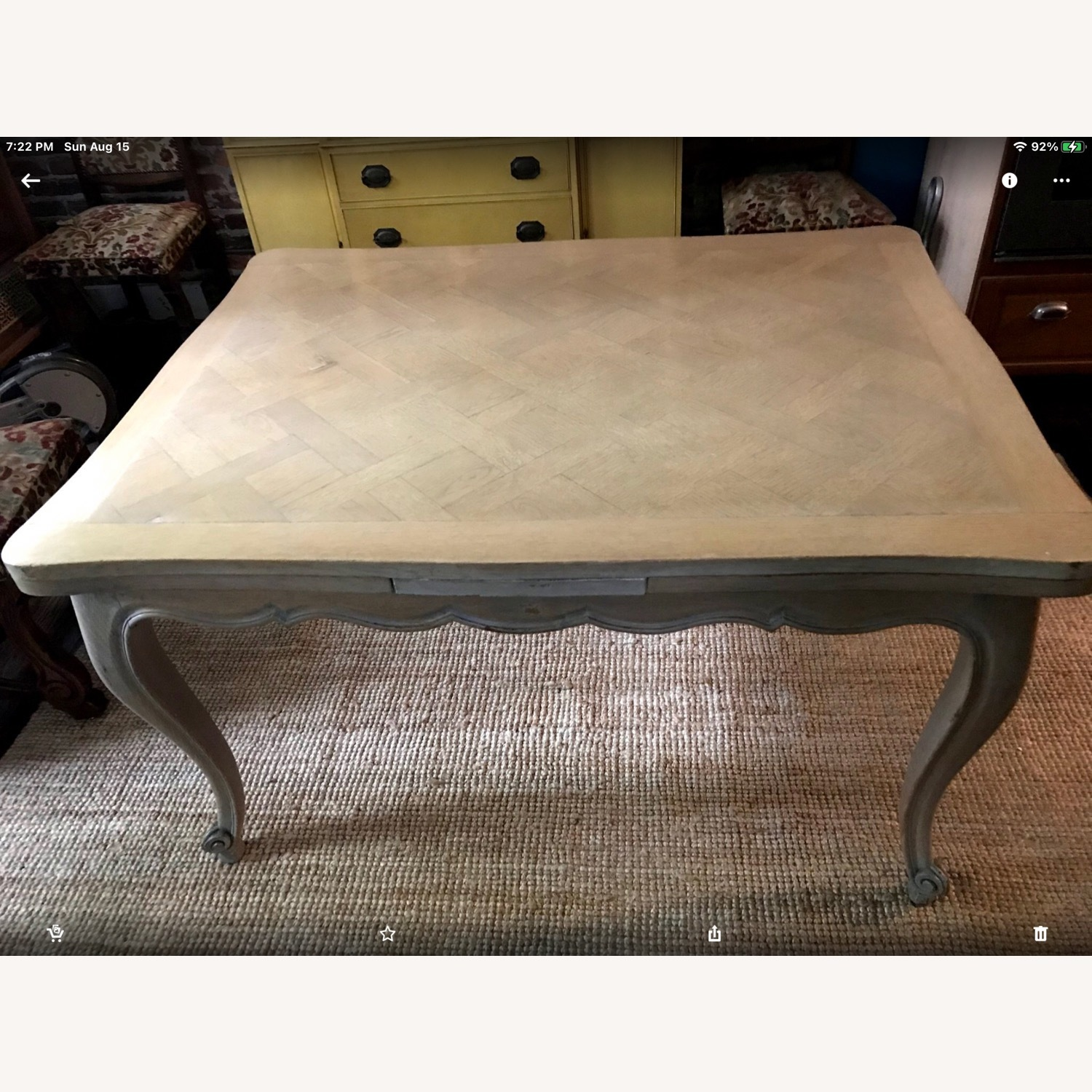 French Drawleaf Parquet Dining Table - image-7