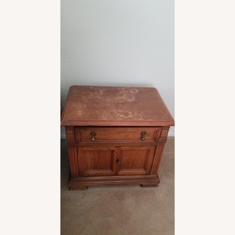 Vintage Drexel Dark Wood Nightstand - image-0