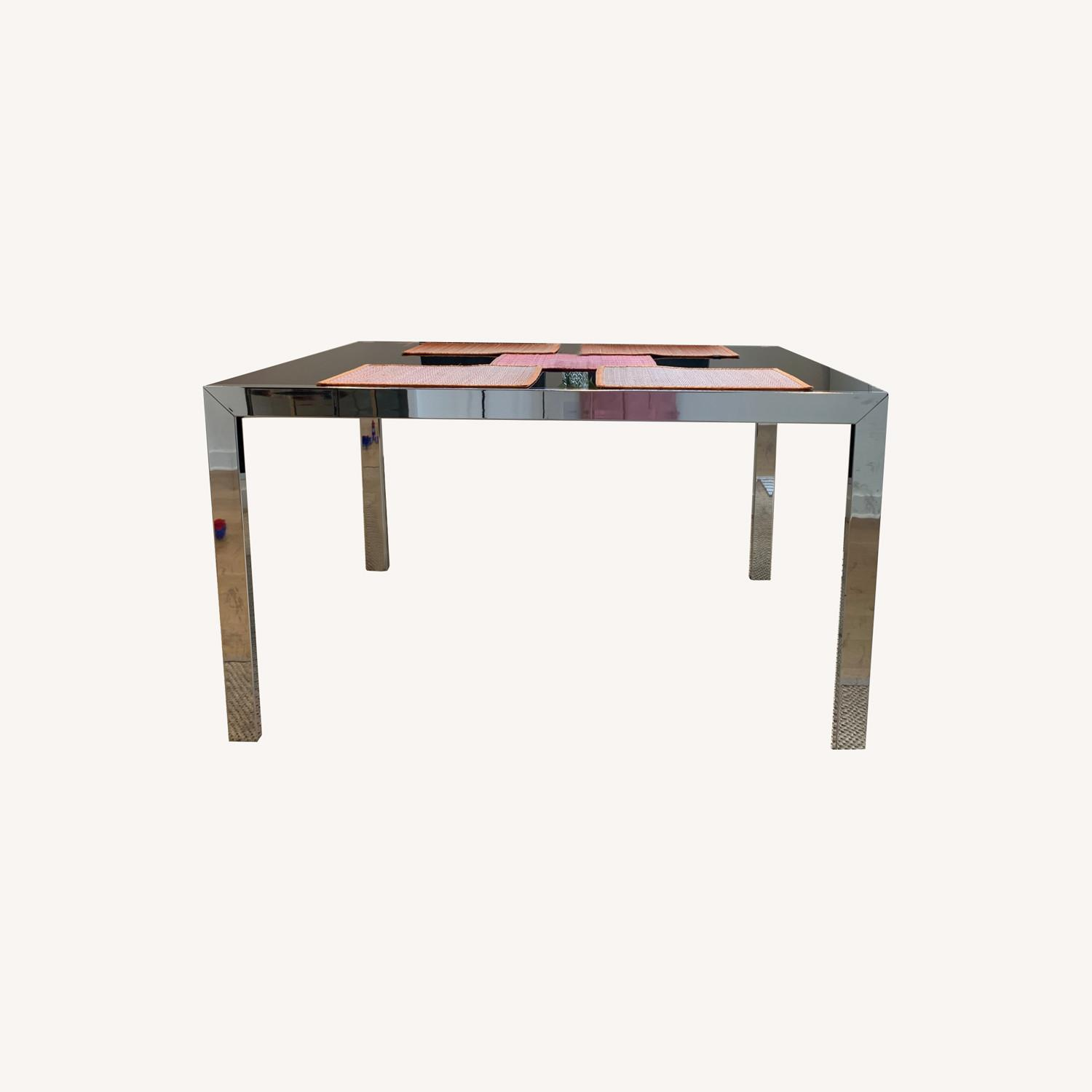 Calligaris Extendable Dining Table   Black Glass & Chrome - image-0