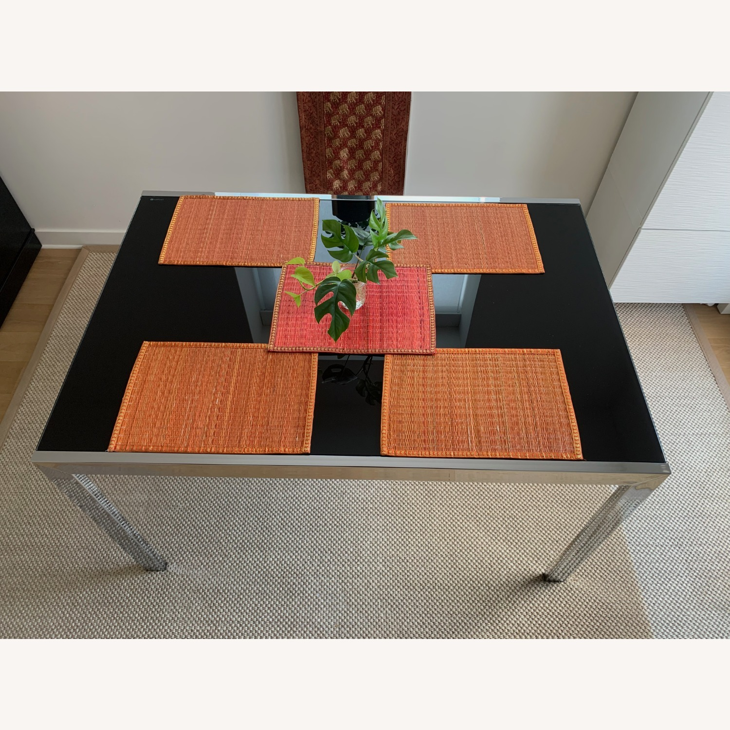 Calligaris Extendable Dining Table   Black Glass & Chrome - image-3