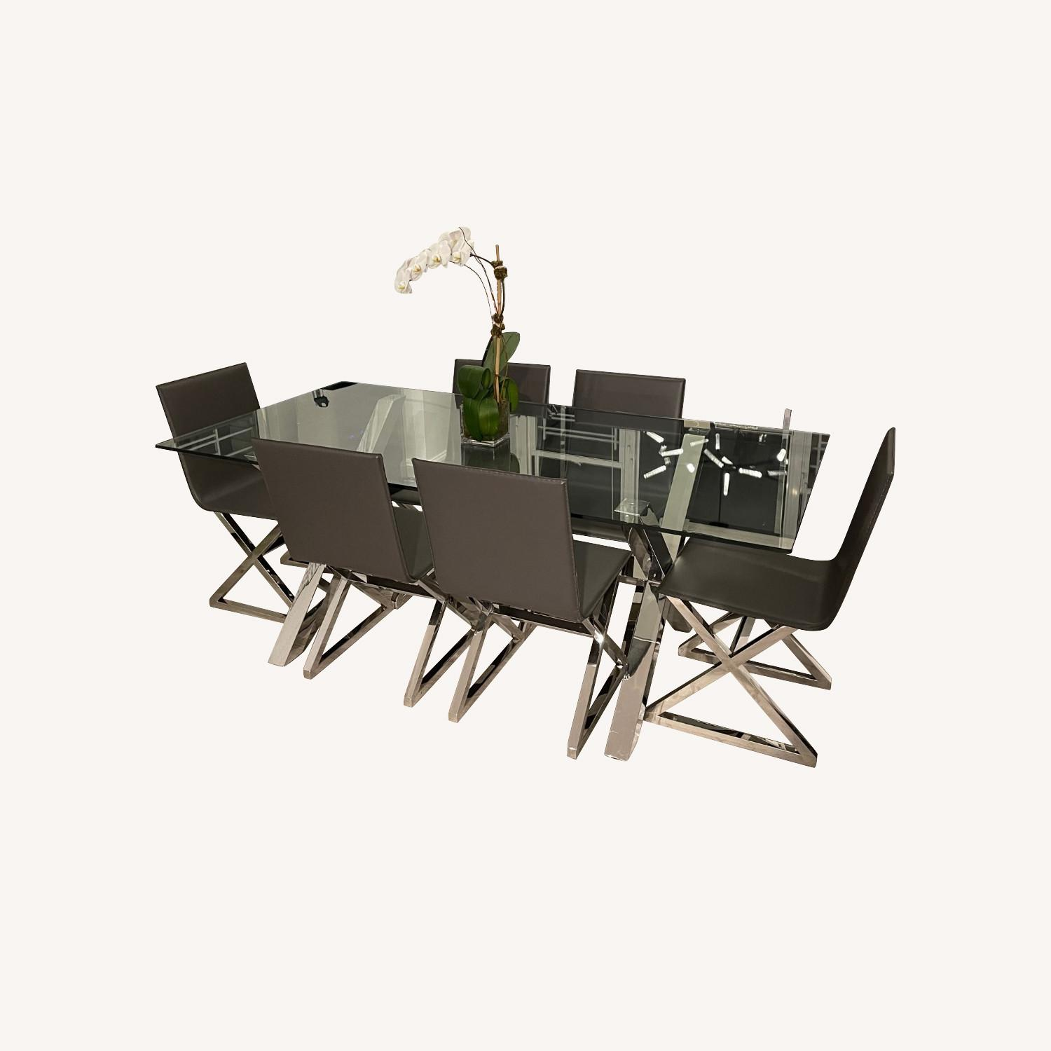 Z Gallerie Chrome Metal Glass Dining Table - image-0