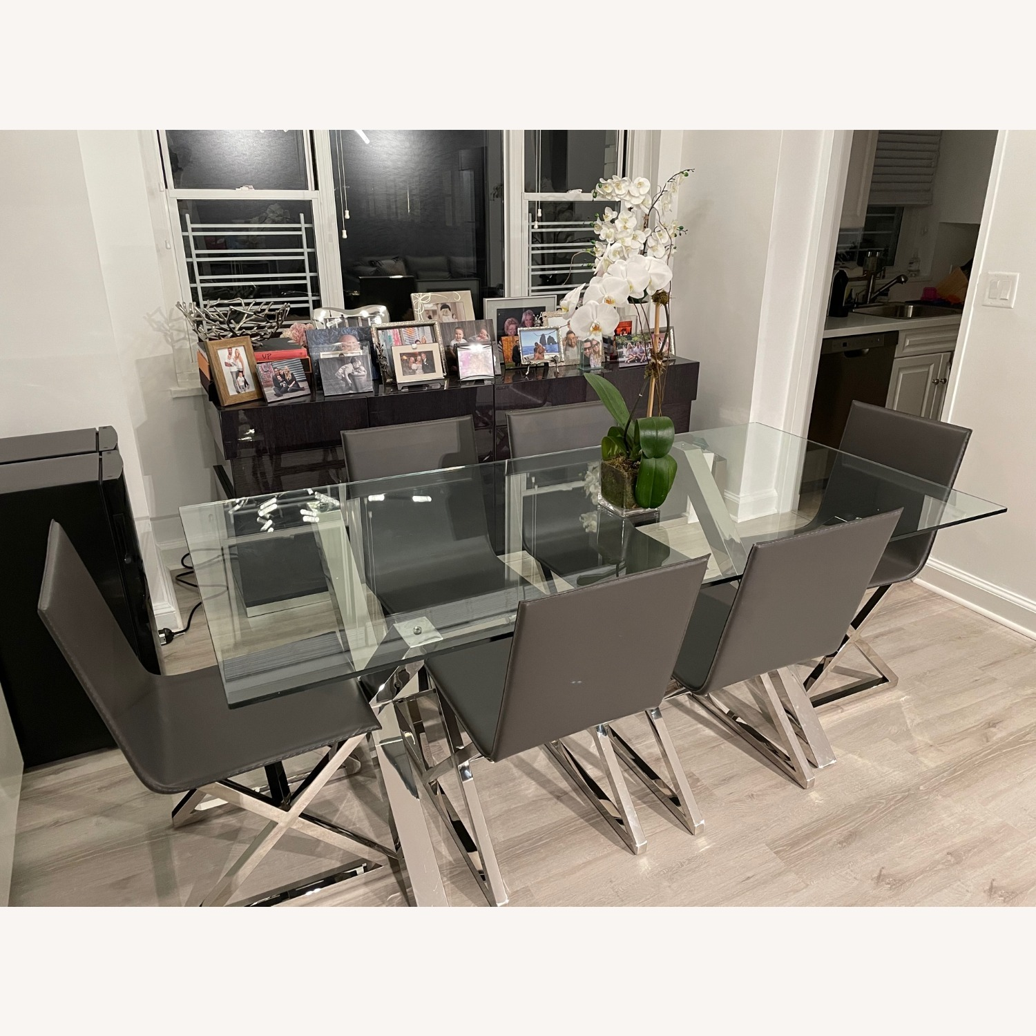 Z Gallerie Chrome Metal Glass Dining Table - image-3