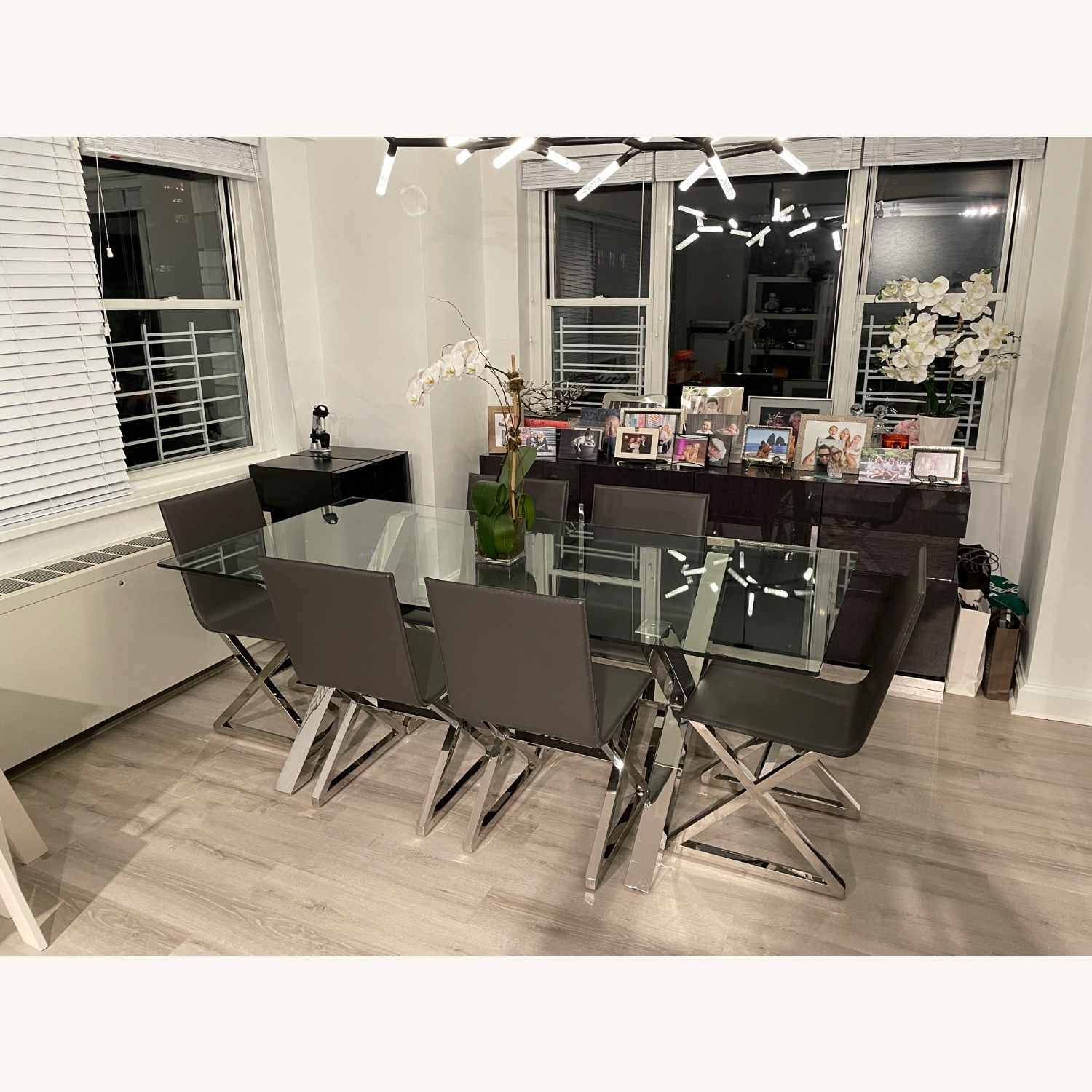 Z Gallerie Chrome Metal Glass Dining Table - image-2